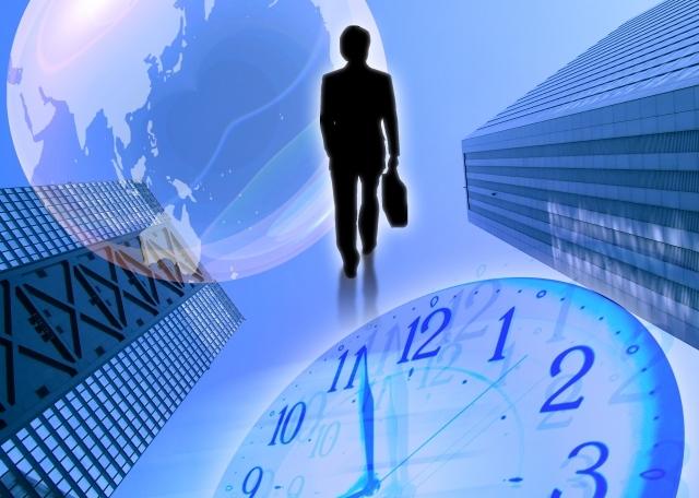 ブログ記事画像_サラリーマンとビルと時計