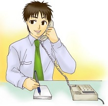電話する営業マン